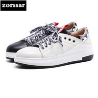 {Zorssar} Genuine cow Leather Fashion Women Shoes casual flat shoes for women Sneakers platform Flats Loafers Female Lazy shoes