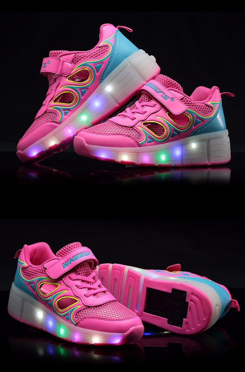 High Quality Cheap Boys Glowing Sneakers With Wheels Kids Light Up Shoes Girls Roller Skates tenis de rodinha tenis led3