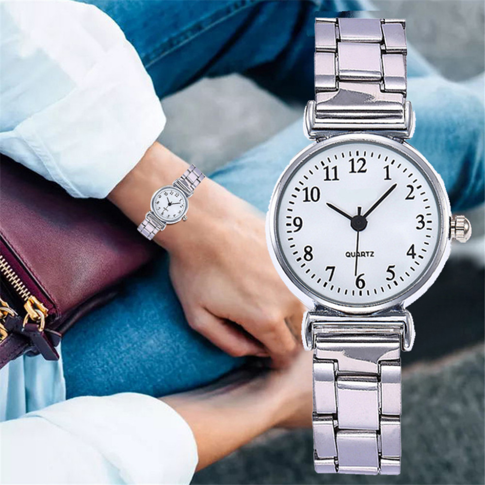 Stainless Steel Women's Fashion Luxury Watch Exquisite Small Dial Simple Casual Creative Bracelet Watch Ladies Quartz Watch #W