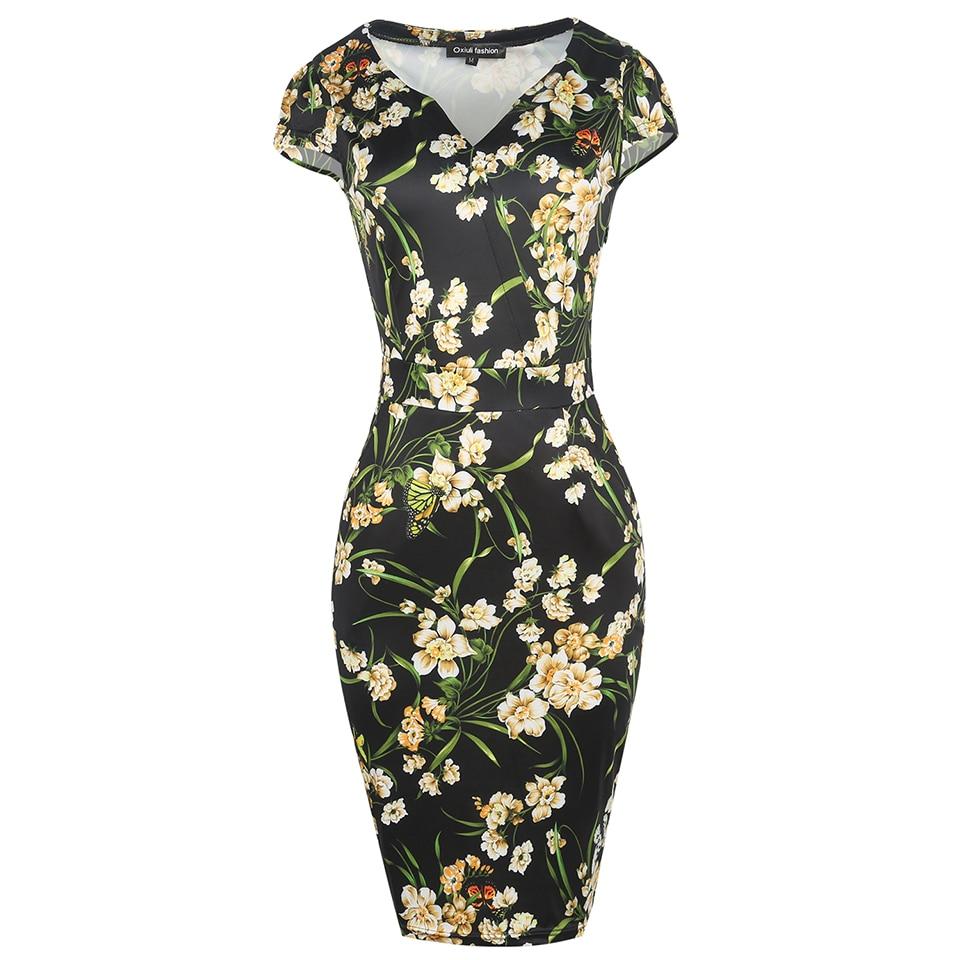 Oxiuly Frauen Kleid Elegante Blumendruck Arbeit Business Casual ...