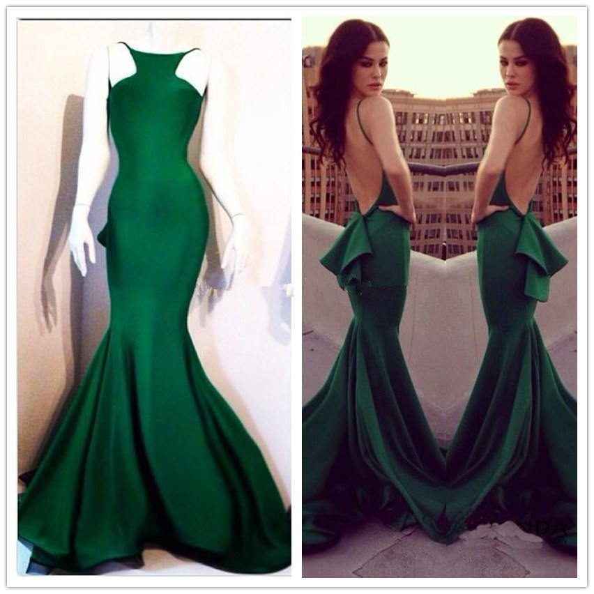 Real Sample cheap Elegant Sleeveless Dark Green Satin Long Mermaid Prom Dresses Backless For Special Occasion Evening Party Gown
