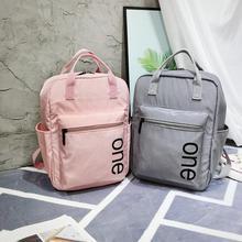 Sweet Letter Print School Backpack Solid Teenage Girls Mochila Feminina Waterproof Nylon Shoulder Bags Portable Pockets Bagpack