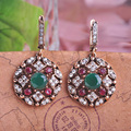 Blucome Top Selling Bijoux Green Turkish Jewelry Drop Earrings For Women Vintage Round Princess Hooks Long Earring Max Brincos