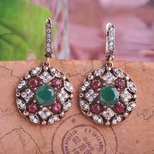 e7bcfdee80ec Blucome venta Bijoux verde turco joyería gota pendientes para mujeres  Vintage redondo princesa ganchos pendiente largo Max Brinc.