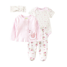 Baby Clothing Set Cotton 4 Piece baby Girls Clothes Suit Newborn Infant Flower Swan Printed Bodysuit+Pant+Outerwear+Cap Headband cheap Sets Casual Broadcloth Unisex Full Floral O-Neck Single Breasted REGULAR BABY s sets Coat Fits true to size take your normal size