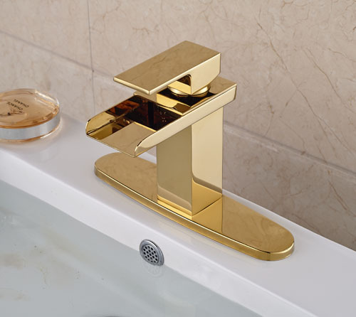 Gold Brass Waterfall Spout Single Lever Batrhroom Sink Basin Faucet  Mixer Tap With Hole Cover Plate waterfall spout basin sink faucet golden finish bathroom mixer tap solid brass single handle with hole cover plate