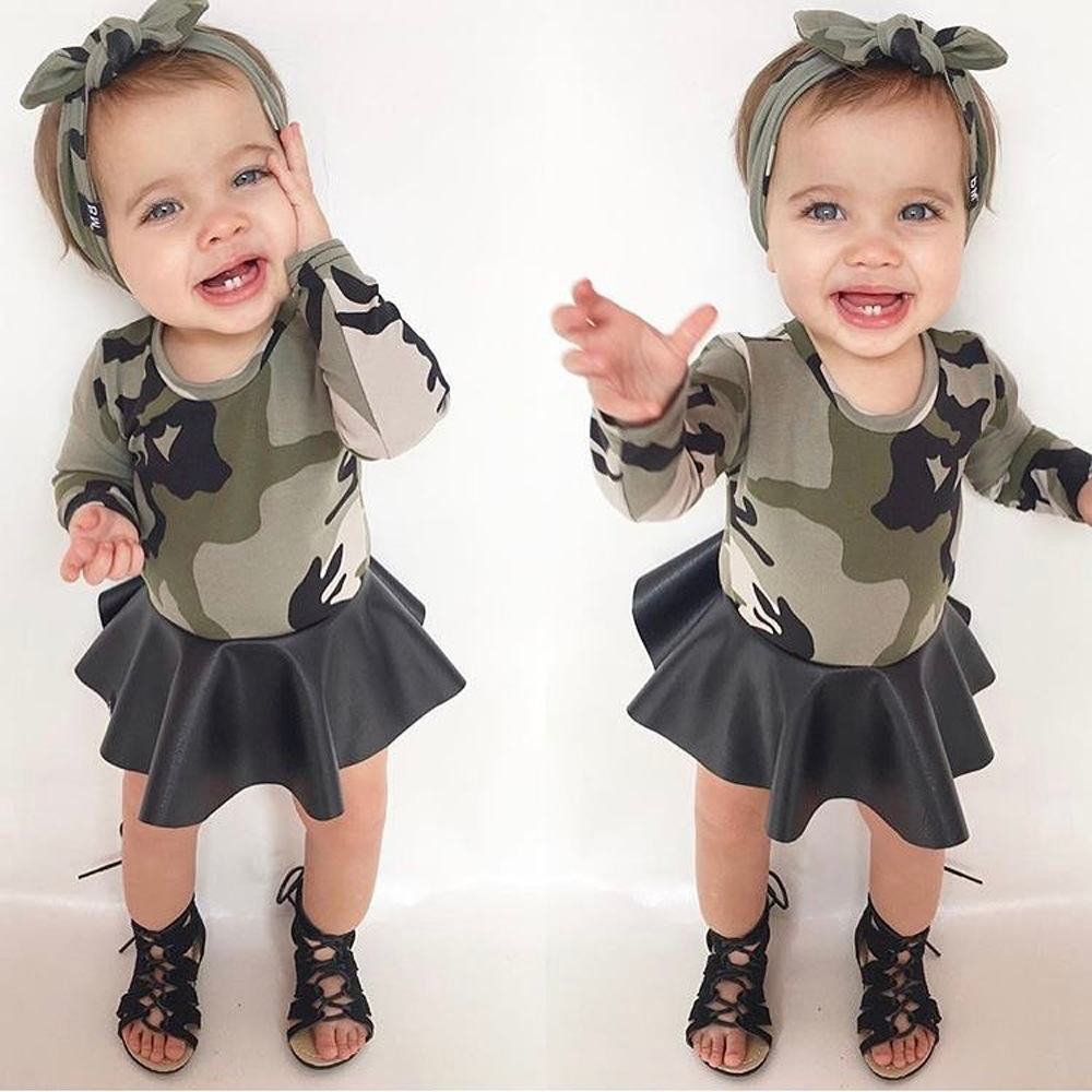 Baby Girls Clothing Fashion Kids Dresses for Girls Autumn Camouflage Children Dress Cotton Long Sleeve Girl Dress Fall 2017 warm thicken baby rompers long sleeve organic cotton autumn