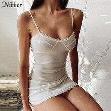 Nibber vestido curto de renda branca transparente, mini vestido de festa verão elegante e noturna com laço bodycon, para mulheres 2019 mulher magra