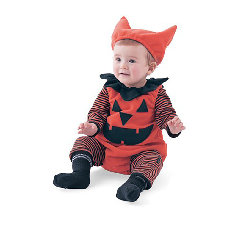 3 pcs baby long sleeve cartoon romper soft infant cotton halloween costumes kids girls boy safe newborn clothes with cute hat - Baby Cute Halloween Costumes
