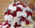 2017 Люкс Для Невесты Свадебный Букет Дешевые Новый Белый и Бургундия/Красное Вино Ручной Работы Искусственный Свадебные Цветы Свадебные Букеты