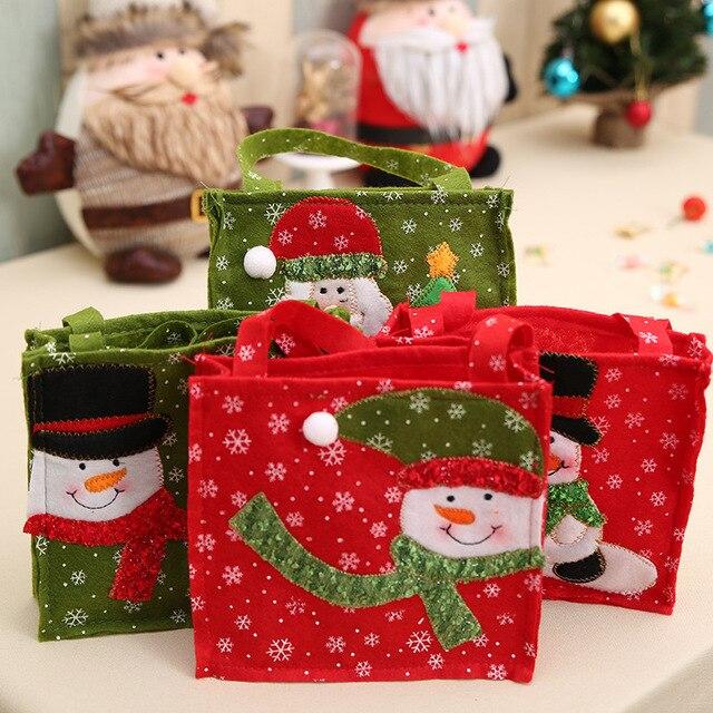 creative christmas tree snowman santa claus candy bag handbag home party decoration gift bag christmas supplies - Christmas Tree Bags