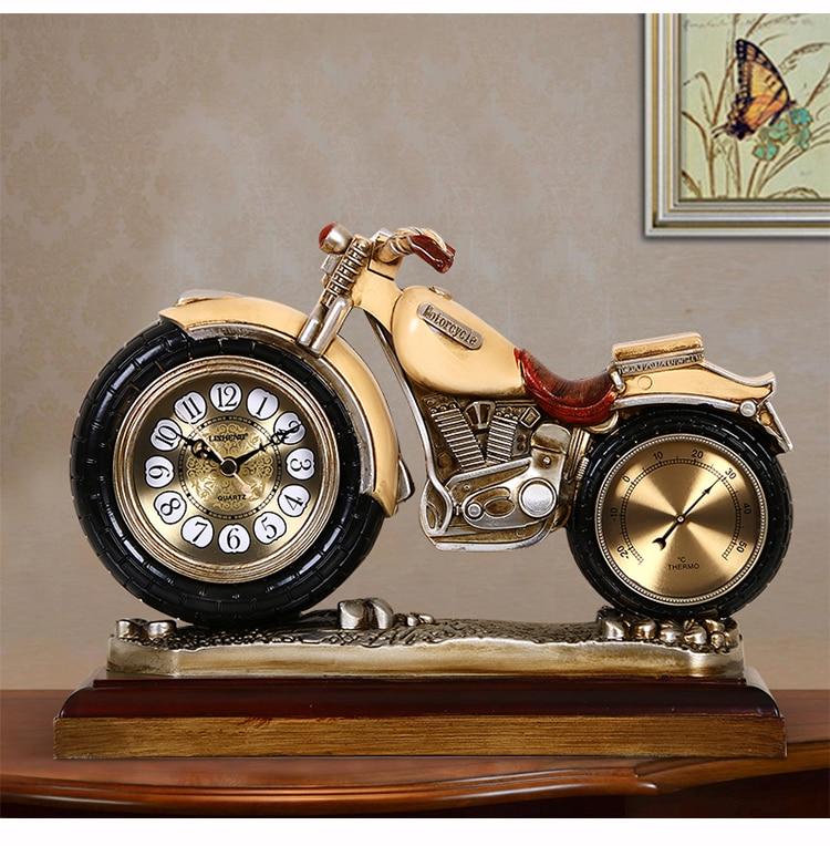 Горячая продажа Топ крутая Мода ретро домашний офис клуб Бар Декоративное искусство Спорт мотоцикл настольные часы термометр орнамент