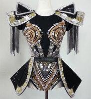 Feminina танцевальные костюмы для шоу Мода звезда певица Dj костюм Ds заклепки одна деталь Комплект Высокое качество индивидуальные