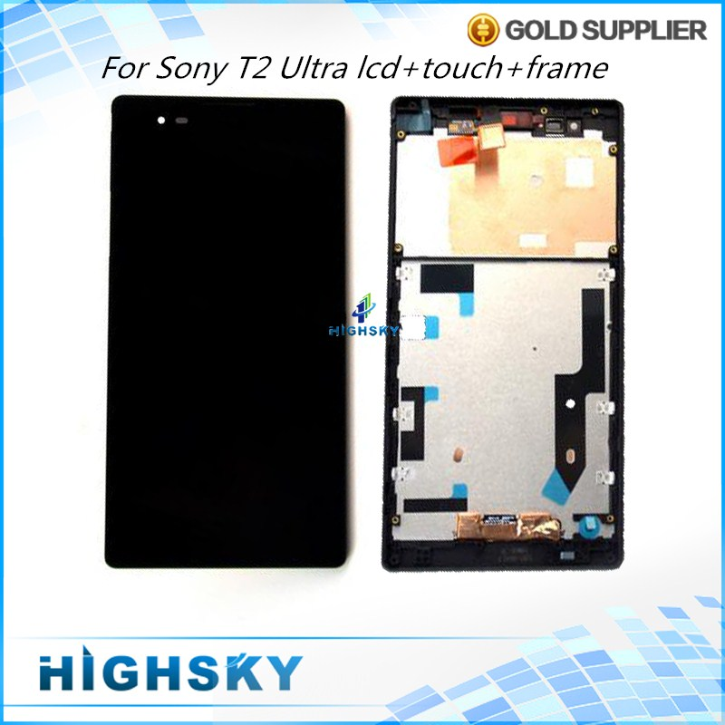 5 pcs/lot Black White LCD For Sony Xperia T2 Ultra XM50h D5303 D5306 D5322 Screen+Frame WithTouch Digitizer Free EMS DHL