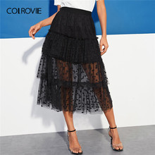bc7150d821 COLROVIE Black Tiered Dot Mesh Overlay Frill Skirt Women 2019 Summer Korean Fashion  Ruffle Flared Midi Skirt Ladies Sheer Skirts
