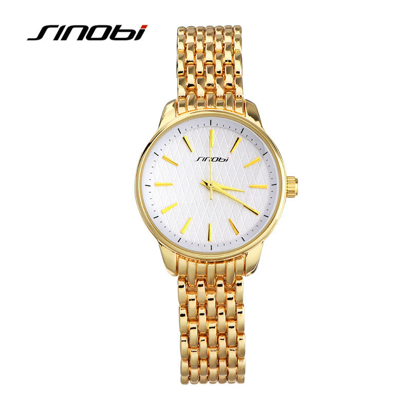 SINOBI Ladies' Quartz Casual Watch Brand Women Watch Yellow Gold Color Watchband White Surface Female's Fashion Wristwatch clock стоимость