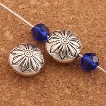Flower Design Metal Rondlle Beads 11.3x11.7mm 15pcs Antique Silver Spacers Jewelry Findings L542