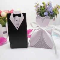50 pièces/ensemble décoration de Mariage mariée marié boîtes à bonbons faveur de Mariage et cadeaux papier pour Mariage décoration de Mariage