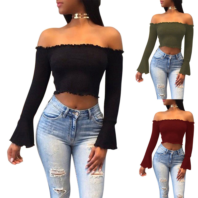 Autumn Winter Women Sexy Crop Top Long Sleeve Off Shoulder T-shirt Solid Color Lady Elastic Slim Tee Shirts H9