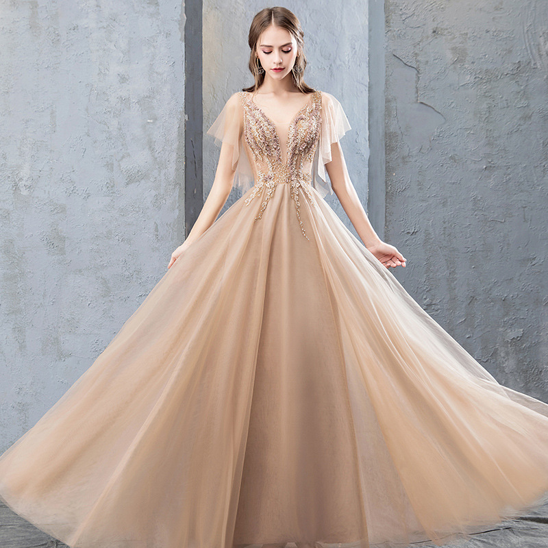 Mrs Win 2019 New Elegant Champagne Evening Dress V-neck Lace Appliques Beading Prom Gown Formal Dress Robe De Soiree