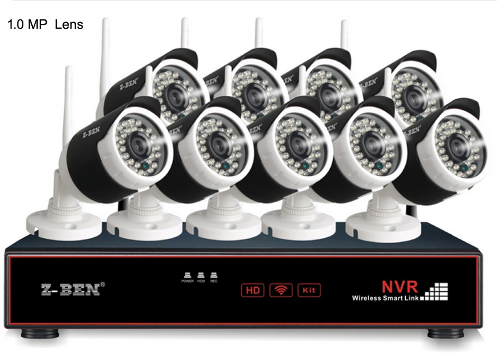 Z BEN 2.4G 9CH Kits Security Camera System Set Wireless Surveillance IP Cameras With 1080P WIFI NVR Free Shipment Only for Ru