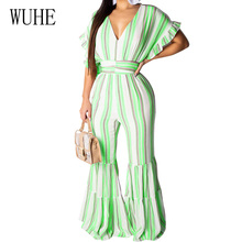 WUHE Retro Sexy Deep V Neck Stripe Wide Leg Loose Jumpsuits Women Summer Big Sleeve Hollow Out Casual Beach Party Club Playsuits