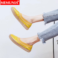 MEMUNIA fashion new flats shoes women genuine leather shoes casual comfortable Walking loafers shoes leisure women flats 2019