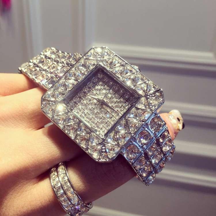 ФОТО 2017 Luxury Brand Stainless Steel Watch Women Ladies Fashion Crystal Dress Quartz Wrist Watches Female Full Rhinostone Clock