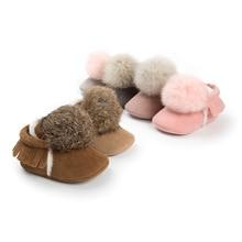 2017Naujas žiemos gražus mielas pirmasis vaikščioti kūdikio kūdikio mergina išlaikyti šiltus batus mažylis Pre-walkers princesė plaukų kamuolys Crib Bebe batai