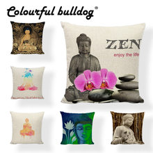 Buddhist Elements Cushion Covers 45*45cm Buddha Ganesha Lotus Bamboo Pattern Car Seat Living Room Sofa Decoration Pillow Cases(China)