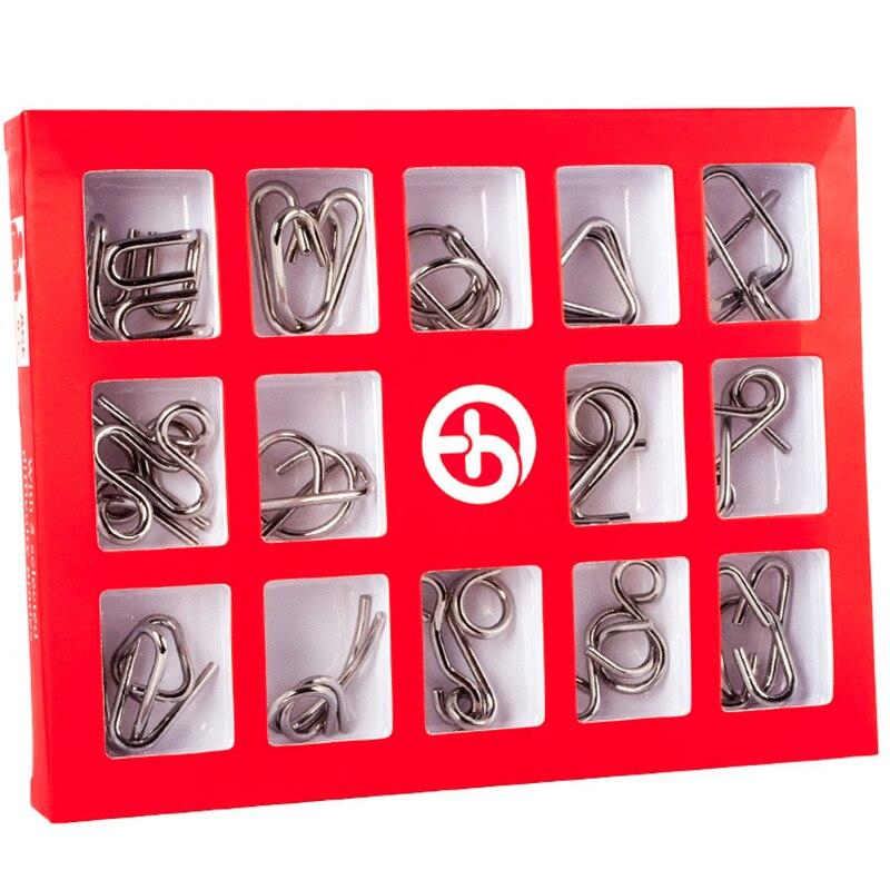 Montessori Metálico 15 pçs/set Fio de Metal Brinquedos Para Crianças Adulto 2 Estilos QI Mente Cérebro Teaser Puzzles Jogo Para Uma Boa presente passatempo