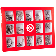 Montessori Metallic 15 Pcs/set Metal Wire Toys For Children Adult 2 Styles IQ Mind Brain Teaser Puzzles Game For Good Hobby Gift 2016 new metal wire puzzle iq mind brain teaser puzzles for adults children s gift 24 pcs set