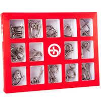 Montessori metálico 15 unids/set de alambre de Metal juguetes para niños adultos 2 estilos IQ mente rompecabezas juego de buen Hobby regalo