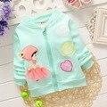Outono inverno crianças criança crianças meninas coração de veludo Outwear casacos Cardigan S2218