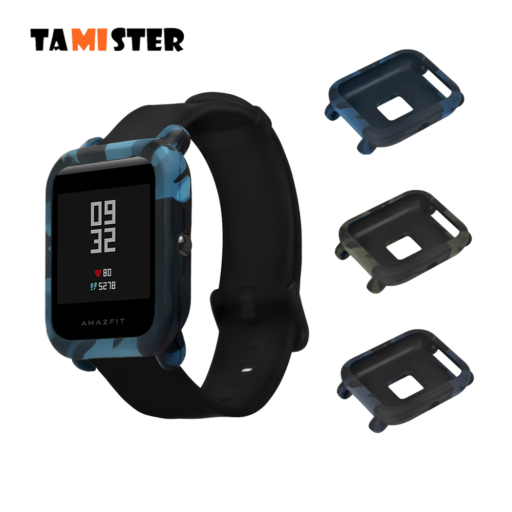 TAMISTER Camouflage Soft Case Cover Protect Shell For Xiaomi Huami Amazfit Bip Youth SmartWatch Slim Frame Silicone Case Cover