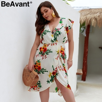 BeAvant Plus size floral print women boho dress V-neck sexy split summer dress casual Bohemian high waist ruffle ladies dresses