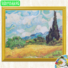 Van Gogh Famous PaintingCypress Trees in Wheat FieldsDiamond Painting Full Square Diamond Embroidery Rhinestone Mosaic Picture full diamond embroidery world famous the church at auvers by vincent van gogh 50cm 40cm diy diamond painting