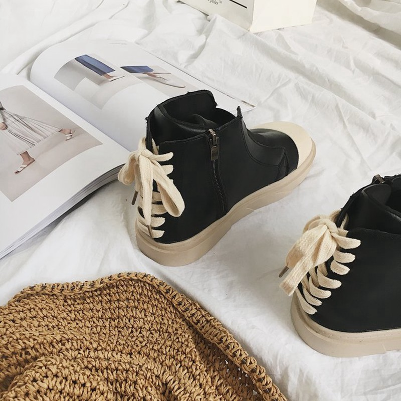 COOTELILI Autumn Women Ankle Boots For Women Girls Boots Fashion Autumn Brand Sneakers Black White Rubber Shoes Women 35-39 (7)
