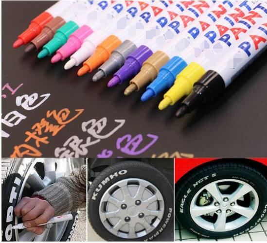 12 colors White Waterproof Rubber Permanent Paint Marker Pen Car Tyre Tread Environmental Tire Painting free shipping