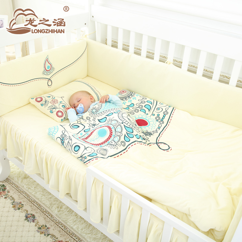 100% Cotton Newborn Bedding Suit 8 in 1 ,Paisley Pattern, Washable, Infant bedding set for girl& boy, Baby bedding set