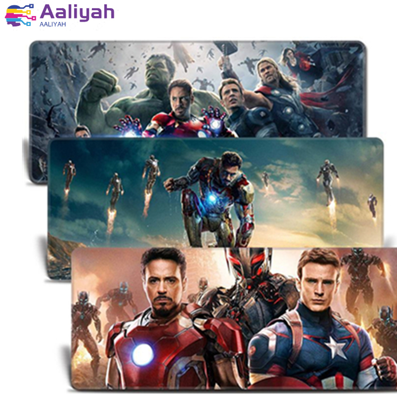 Image 3 - Super Marvel mouse pad Locking Edge Gaming Mouse Pad Hero Iron Man Quake Anti slip Natural Rubber Mat anime mouse pad  pc gamer-in Mouse Pads from Computer & Office