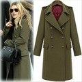 2017 Moda de Rua das mulheres double breasted lã casaco de lã militar casaco longo casaco plus size outono inverno trench coat XXL