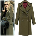 2017 Street Fashion military wool jacket women's double breasted wool coat long overcoat plus size autumn winter trench coat XXL