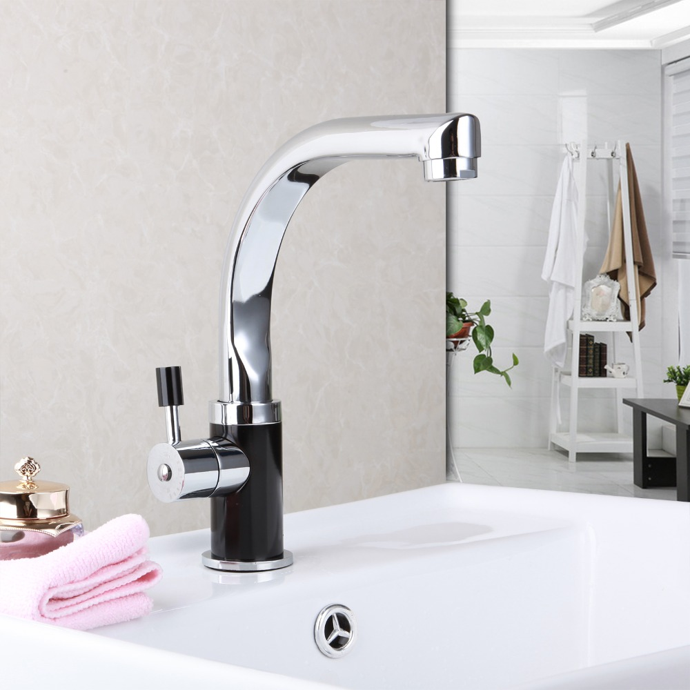 Brass Chrome Kitchen Faucet Bathroom Faucet Rotating Spout Deck Mounted Cold Hot Mixer Tap Basin