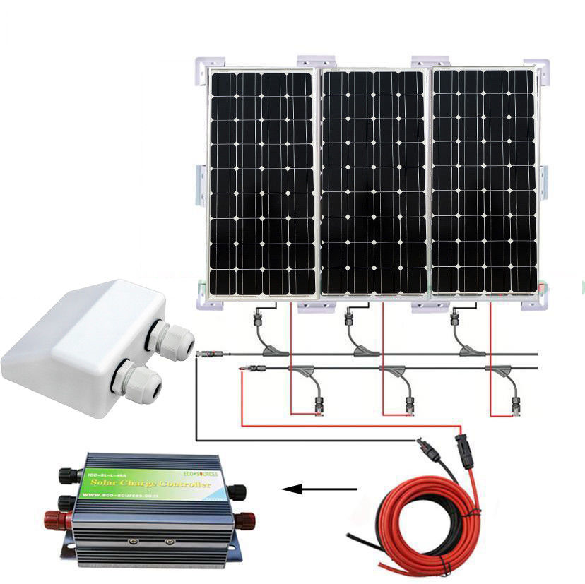 3PCS 100W MONO SOLAR PANEL 300W SOLAR SYSTEM W/ SOLAR BRACKET FOR CHARGE 12V