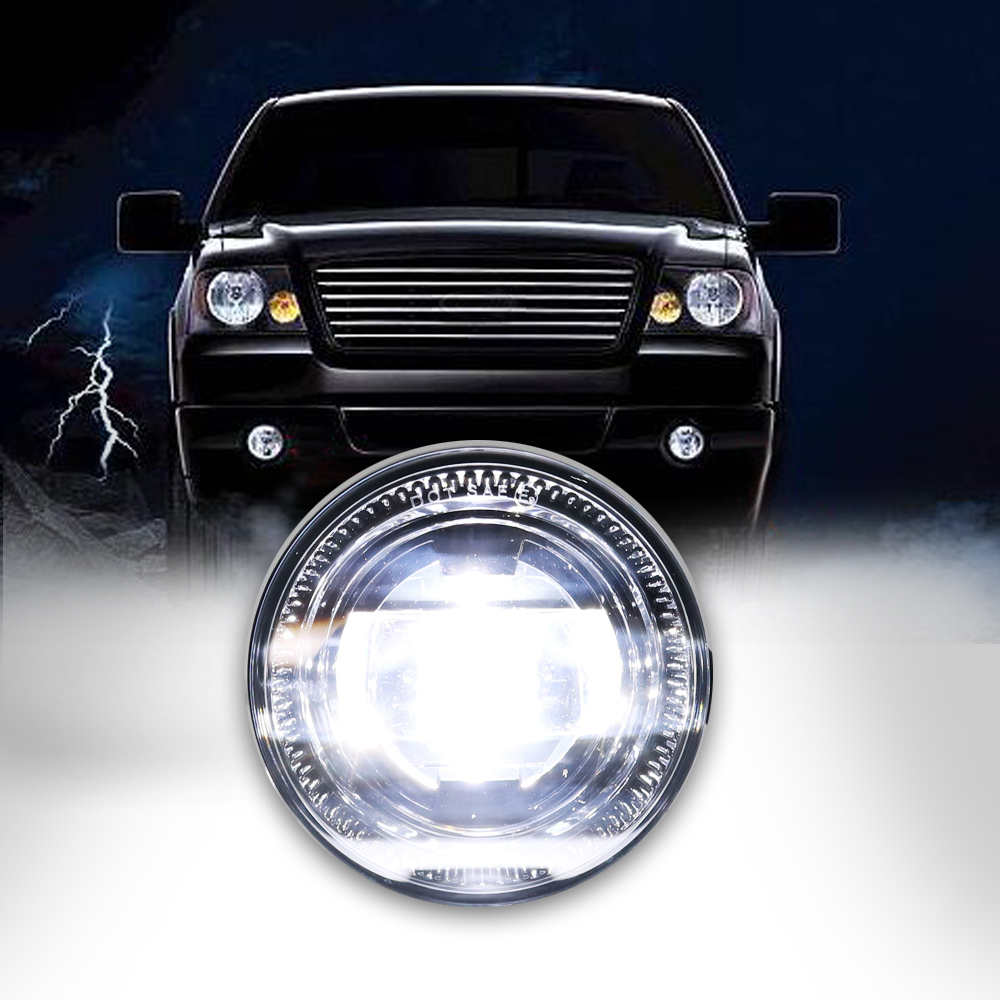 1 Pair Black Plug-N-Play LED Fog Lights 2400 Lumens With H11 Socket 4 Inch Round Fog Lights For Ford F150 Trucks 2014 new arrival black 100w 1 pair 9 led 12v round daytime driving lights with fog parking function