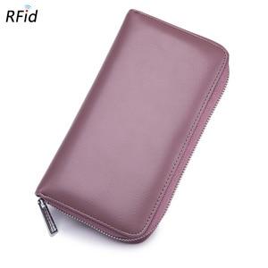 Image 4 - 本革 Rfid ブロッキングクレジットカードホルダー男性オーガナイザー旅行パスポート財布ビジネスカード保有者の女性の財布