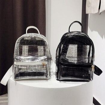 Alphabet Print Clear Backpack Fashion Plastic Mum Bag Waterproof PVC Transparent Daily Backpack Teenage Girl Schoolbag алиэкспресс сумка прозрачная