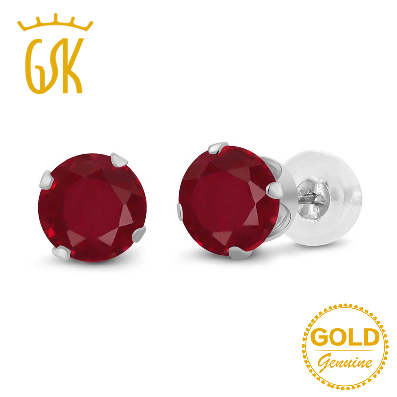 Gemstoneking Ruby Earrings 1 12 Ct Round Natural Red Stud 14k White Gold Fine Jewelry For Women In From Accessories On