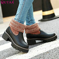 QUTAA Elegant Winter Slip On Autumn 2016 Women Shoes Square Med Heel Ankle Boots Women Motorcycle Snow Boots Size 34-43